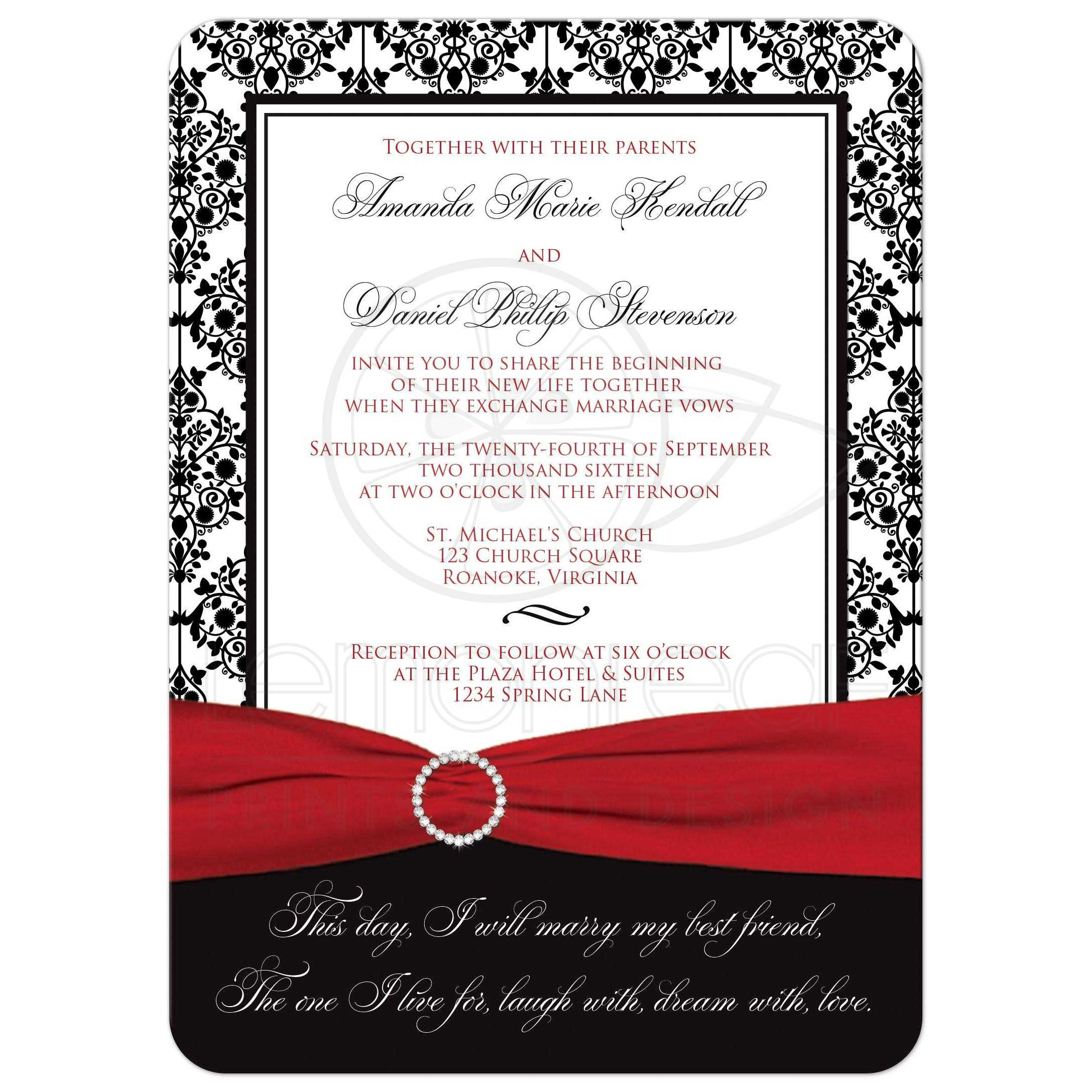 Cheap White Card Wedding Invitation Black White Damask Printed Red
