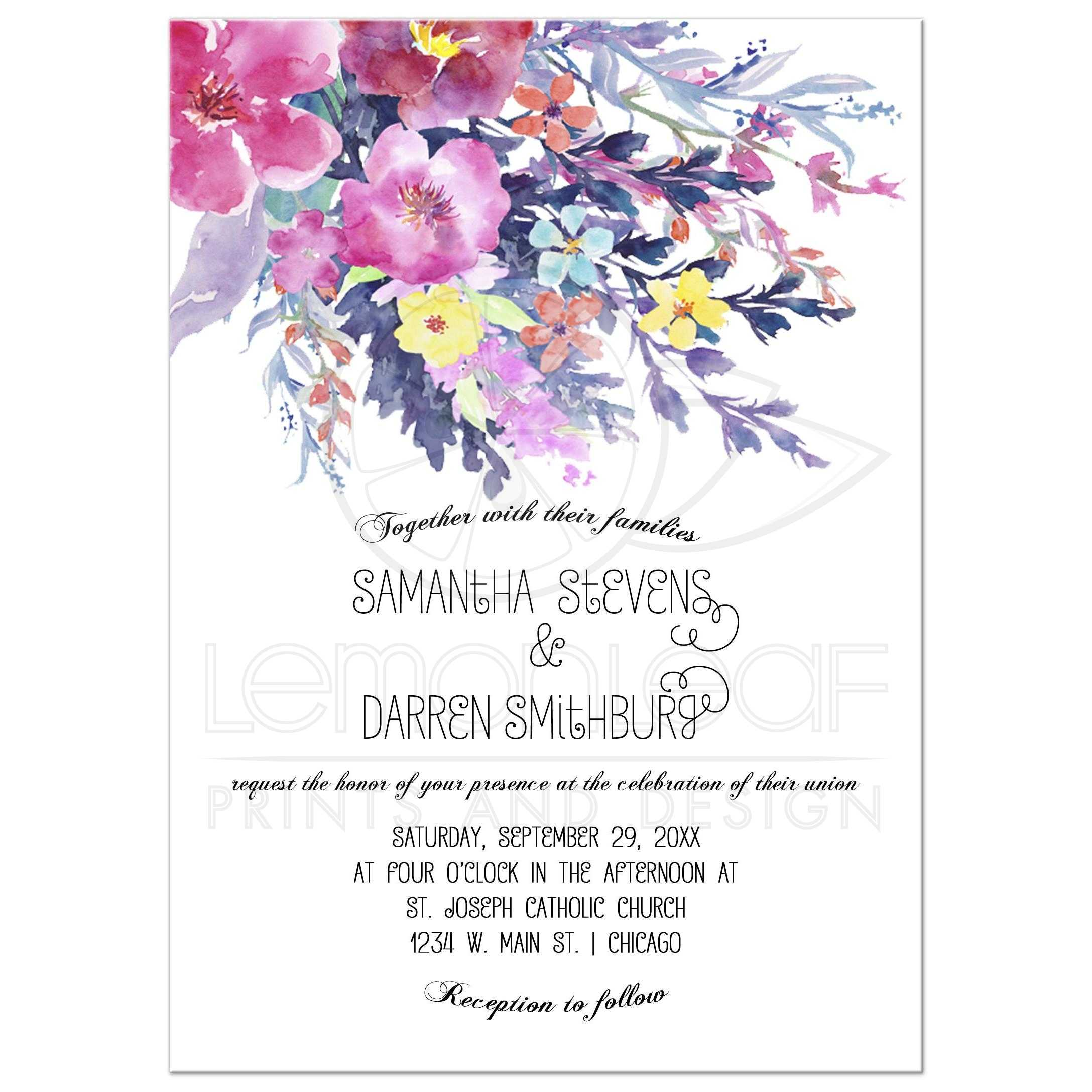 Modern Pastel Watercolor Floral Wedding Invitation