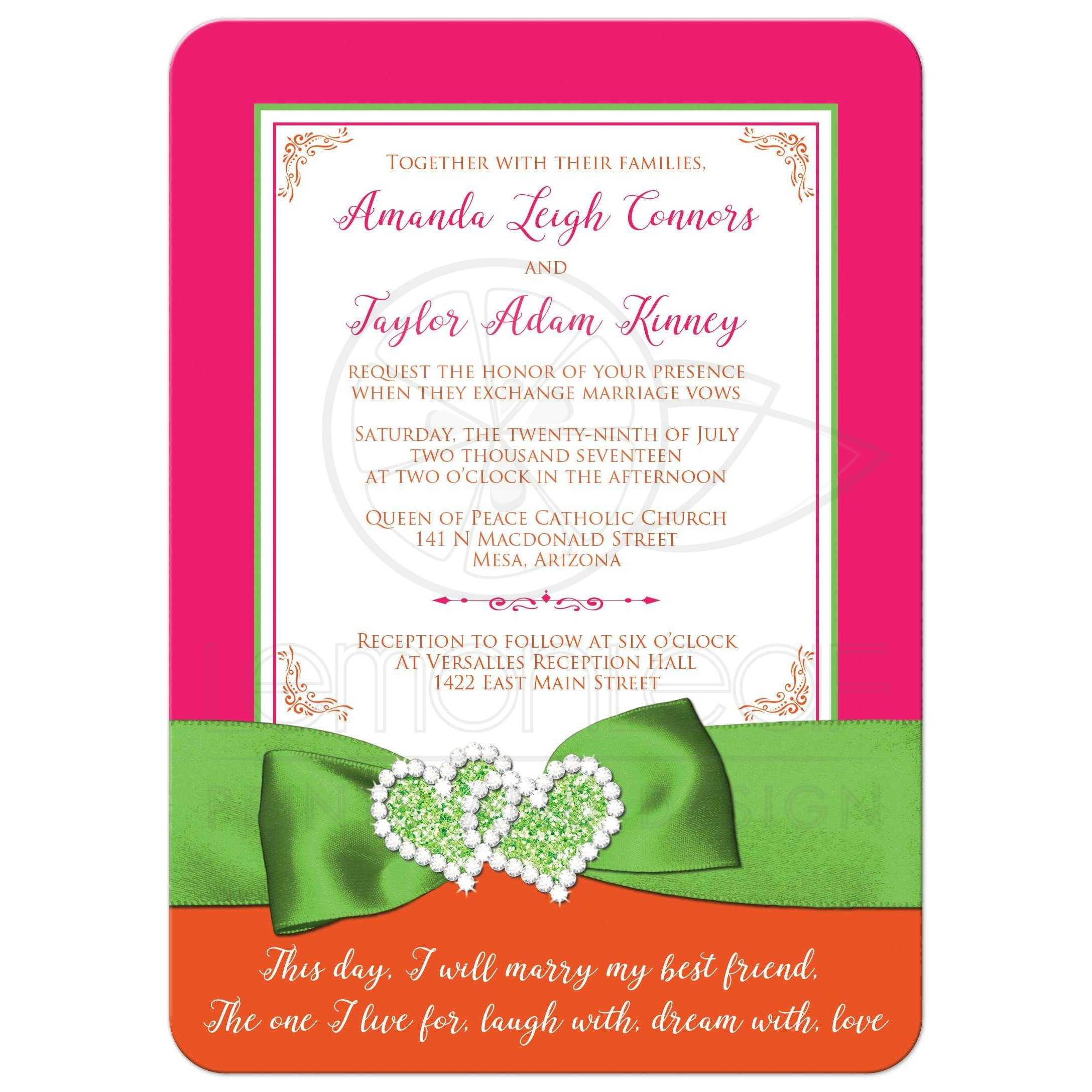 Tropical Wedding Invitation Hot Pink Orange Lime