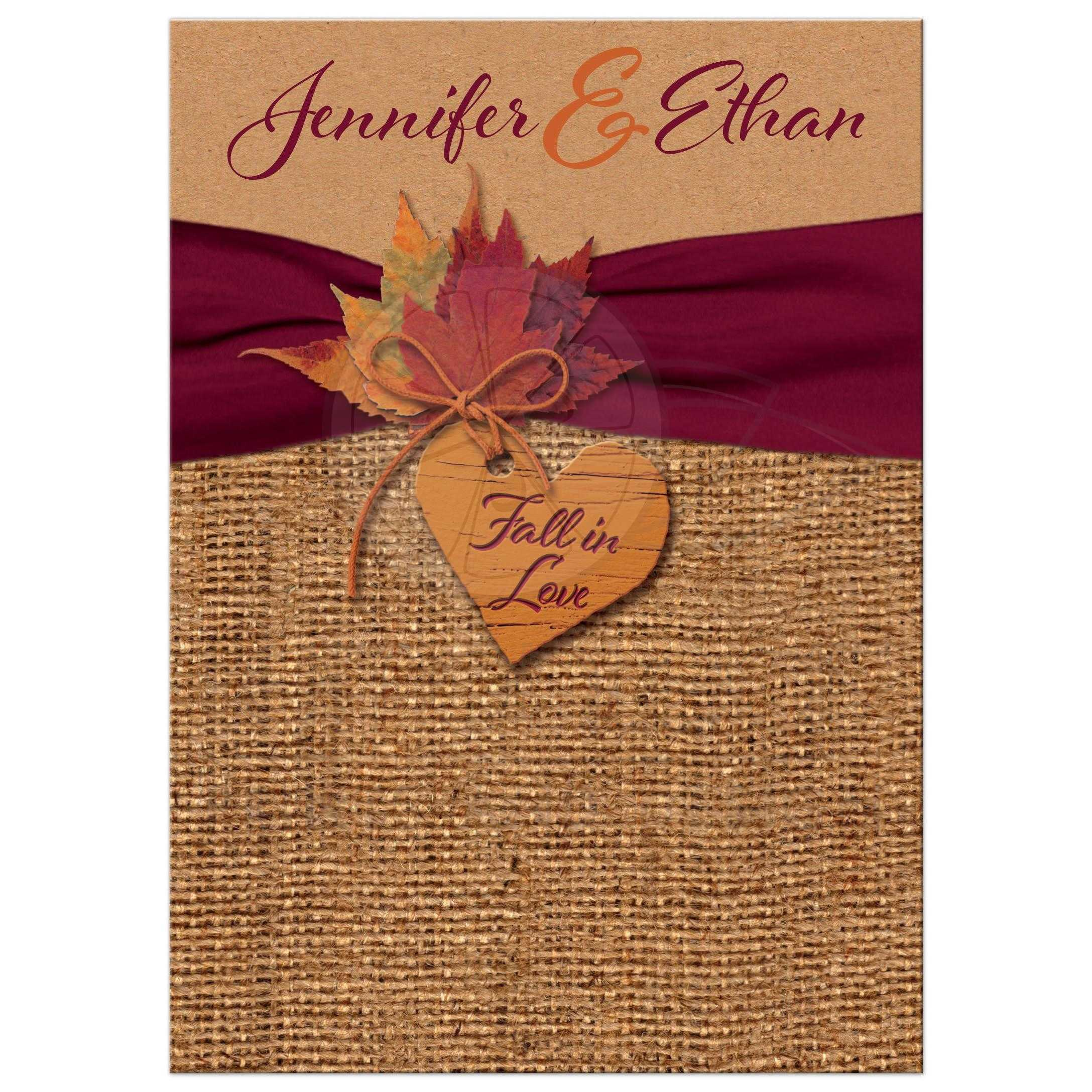 Hilarious Rustic Burlap Kraft Paper Wedding Invitations Love Wedding Invitation Faux Faux Kraft Paper Fall Wedding Invitations Ideas Fall Wedding Invitations Packages A Burgundy Painted Wood Heart Fal wedding Fall Wedding Invitations