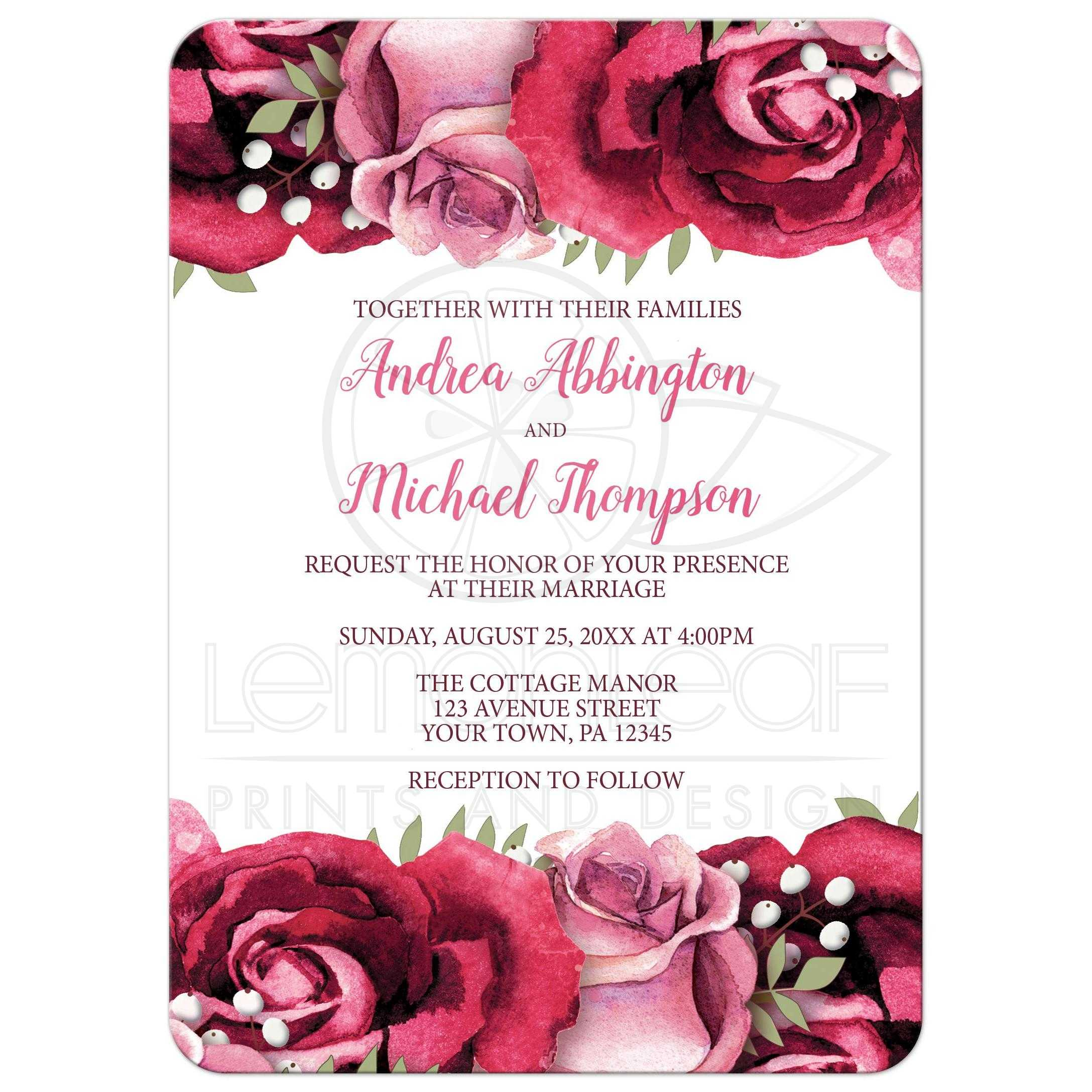 Cheap White Card Wedding Invitations Burgundy Pink Rose White Rustic