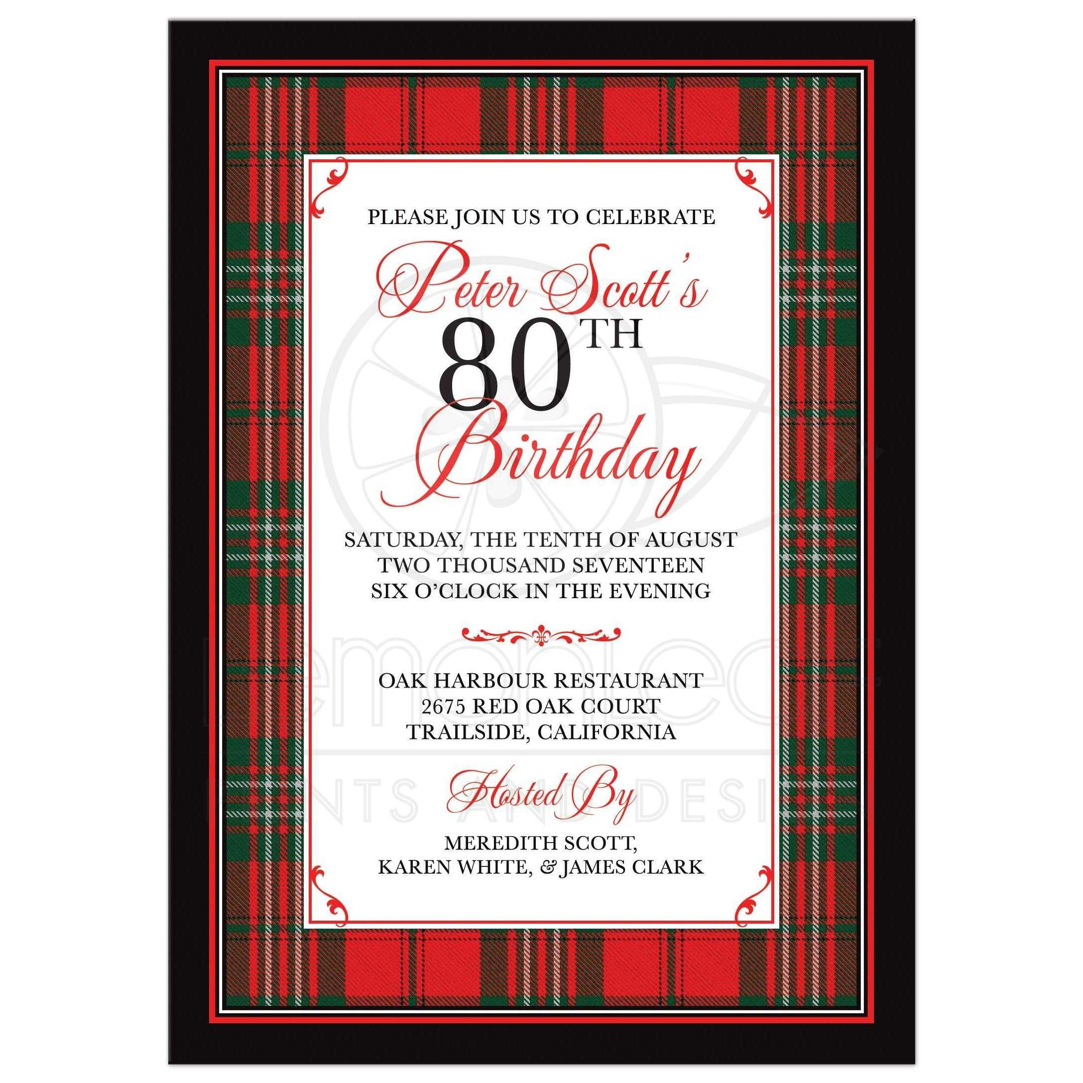 Best Scottish Clan Scott Tartan Birthday Invitation Front Scottish Clan Scott Tartan Birthday Invitation 80th Birthday Invitations Australia 80th Birthday Invitations Ebay invitations 80th Birthday Invitations