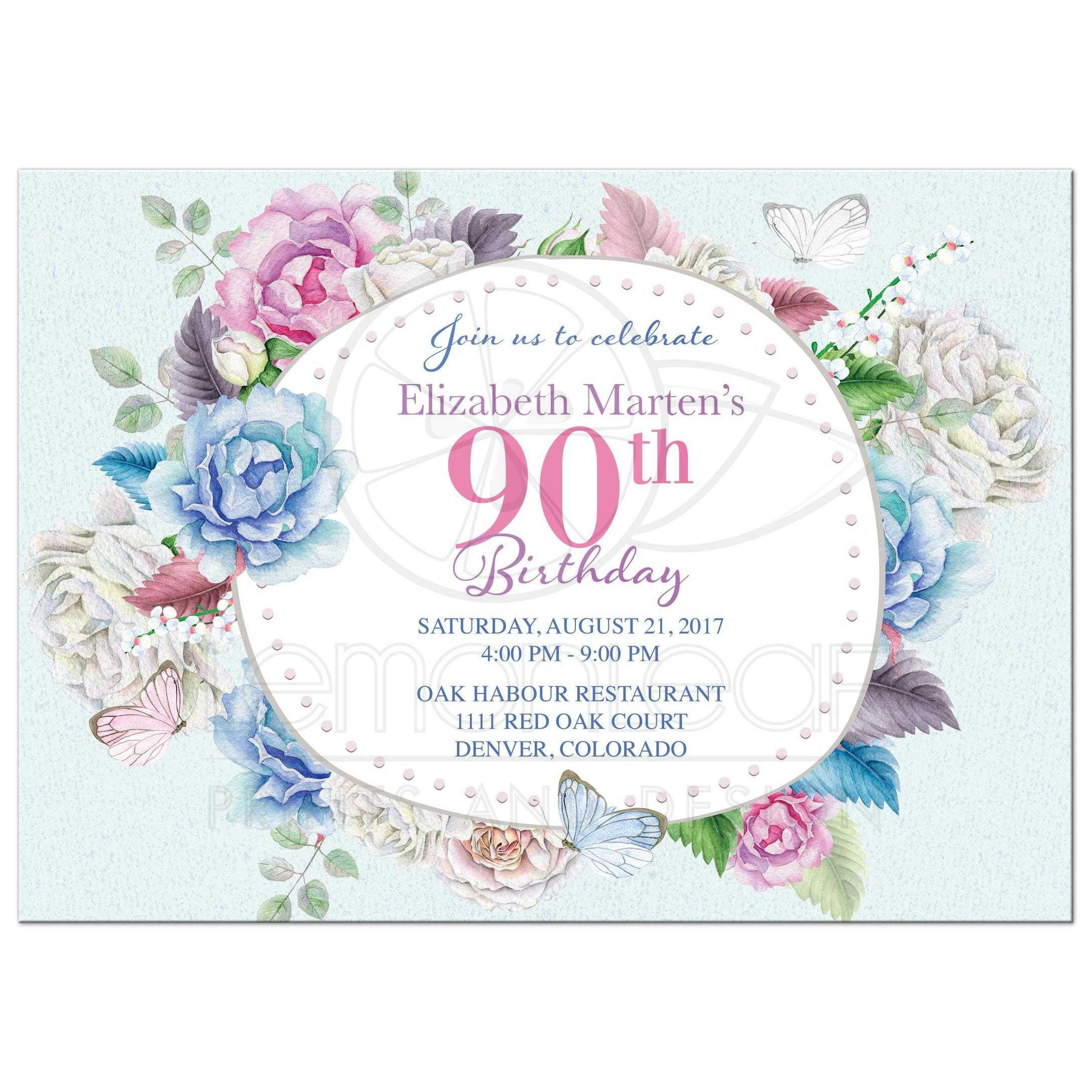 Tempting Watercolor Floral Butterfly Birthday Invitation Front Watercolor Rose Peony Birthday Invitation Floral Frame 90th Birthday Invitations Response Cards 90th Birthday Invitations Serviettes invitations 90th Birthday Invitations