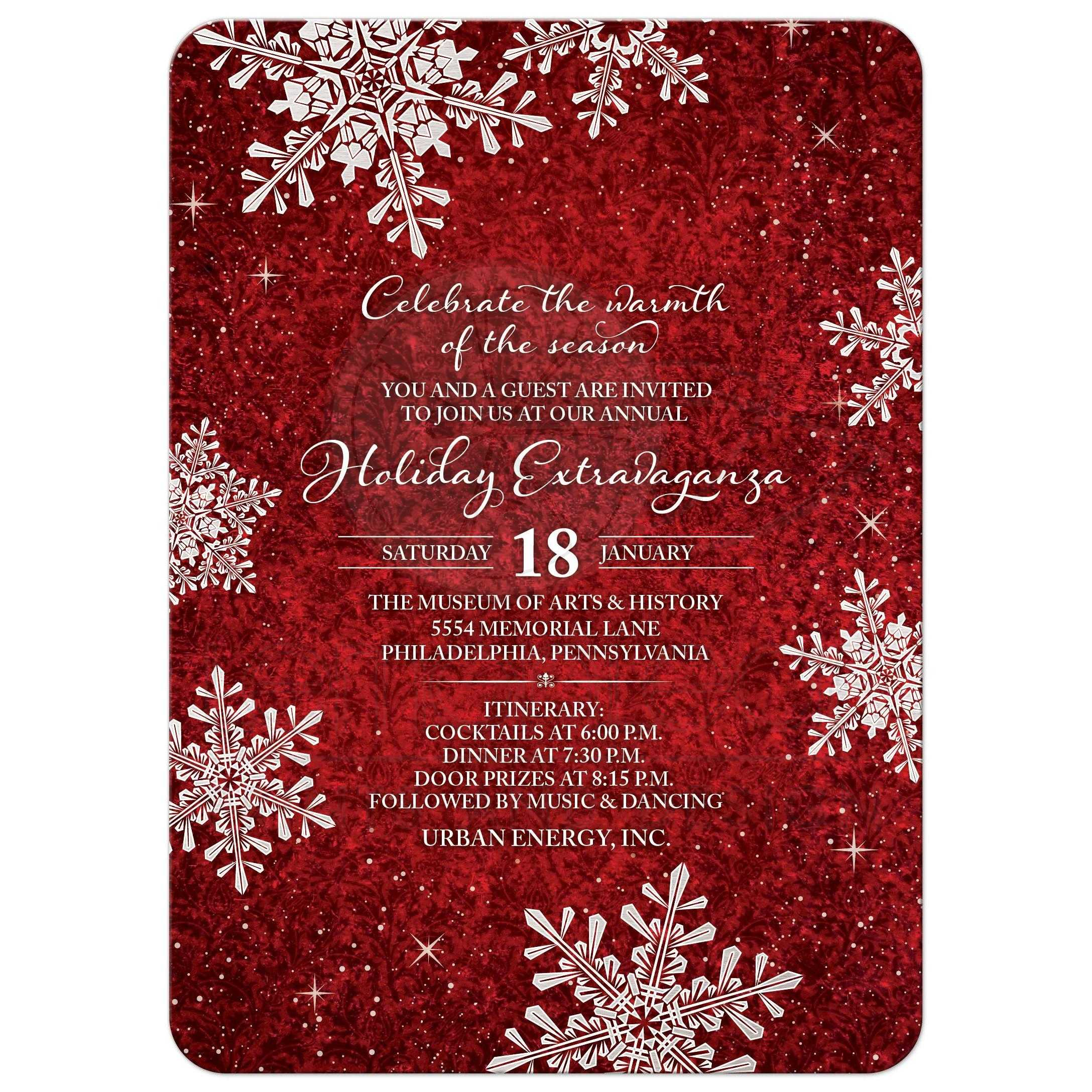 Cheap White Card Red White Velvet Look Snowflake Winter Holiday Corporate