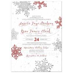 Engrossing Silver Snowflake Winter Wedding Invitation Front Red Silver Snowflake Winter Wedding Invitation Winter Wedding Invitations Diy Winter Wedding Invitations Wording Red