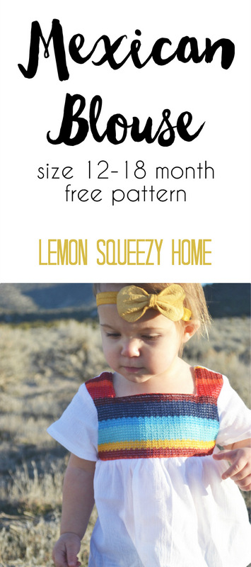 Mexican Blouse Pattern size 12-18 months -- lemon squeezy home-001