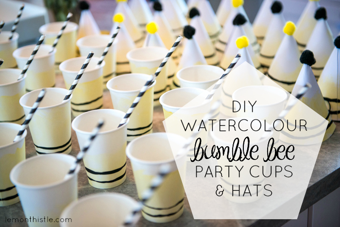 Super fun DIY Watercolour Bumble Bee Party Cups and Hats