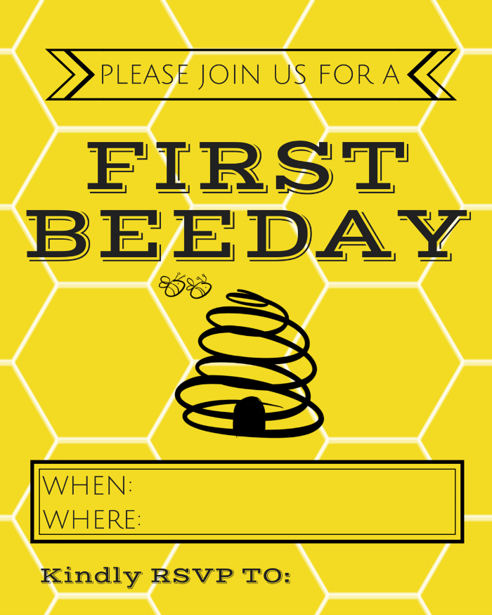 Love this First Beeday Invitation - Free Printable