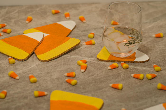 These are so cute!! DIY Cork Candy Corn Coasters