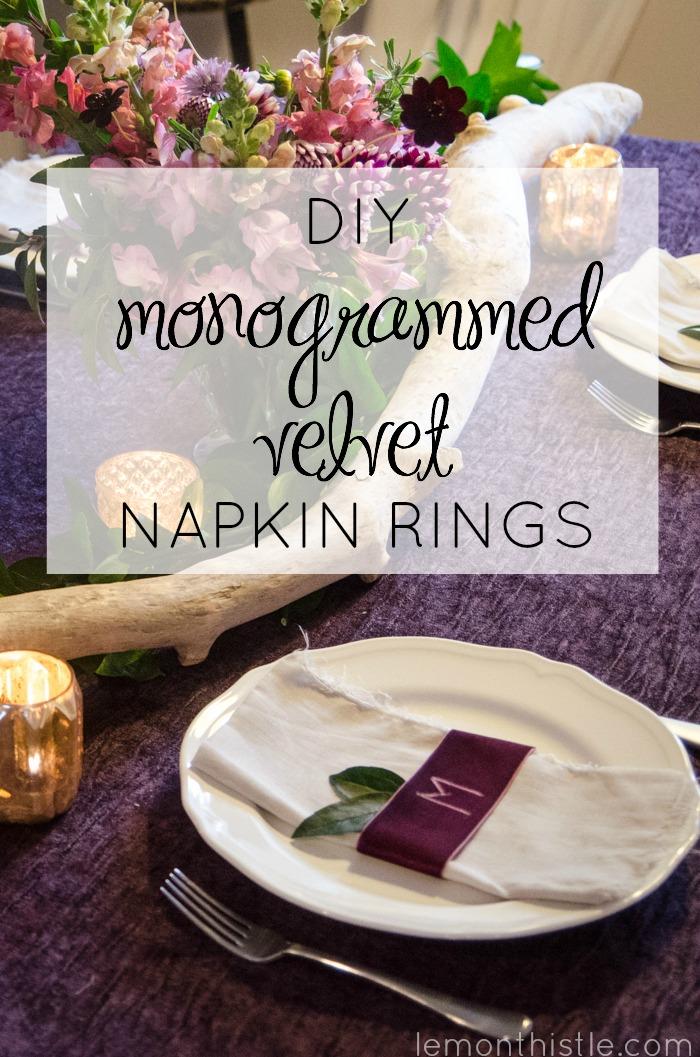 So cool! DIY Monogrammed Velvet Napkin Rings