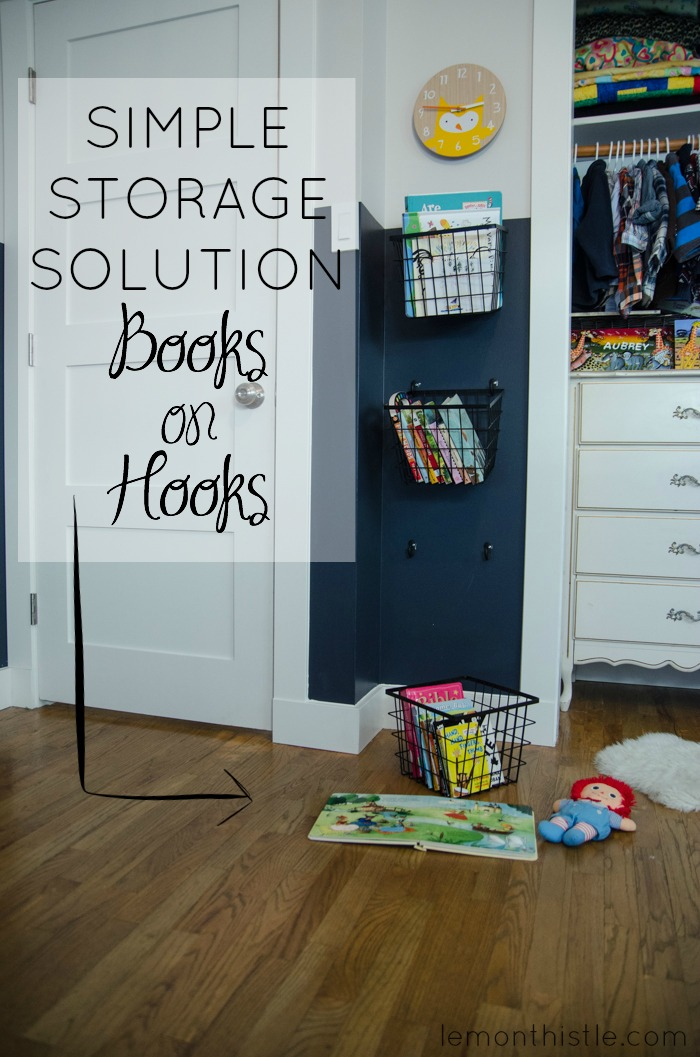 Simple Storage Solution! Book Baskets on Hooks
