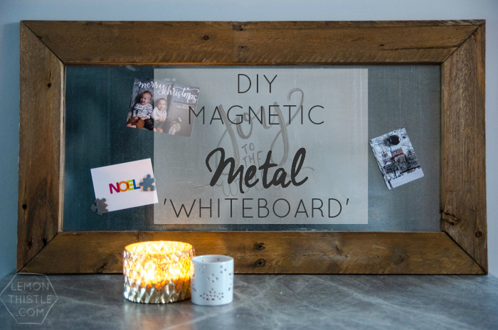 DIY Magnetic Metal 'whiteboard' Great idea to display Christmas Cards!