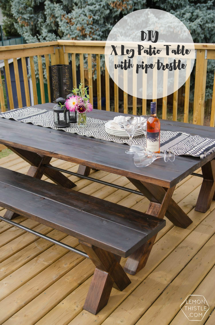 Patio Table Diy X Leg Patio Table With Pipe Trestle Lemon Thistle
