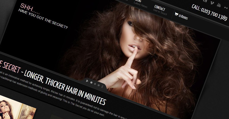 Secret Hair Extensions Home Screen