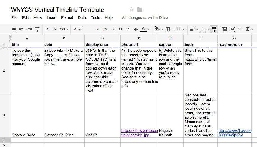 timeline spreadsheet