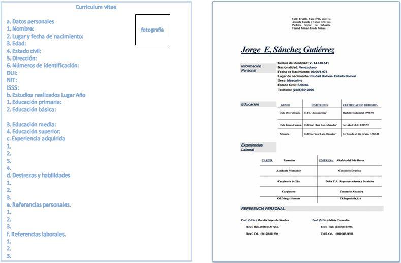 Formato de curriculum vitae doc para llenar