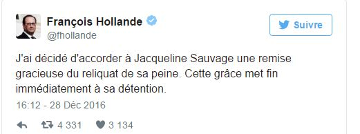 Tweet Hollande Jacqueline Sauvage