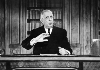 French President General Charles de Gaulle gestures while addressing the nation during a TV speech on the eve of the New Year 1963 on December 31, 1962.  AFP PHOTO