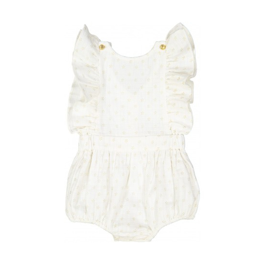 Couche En Coton Louis Louise Baby Marie Overall Off White With Gold Dots