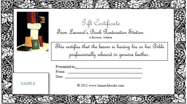 Gift Certificates Leonard\u0027s Book Restoration - gift voucher format sample