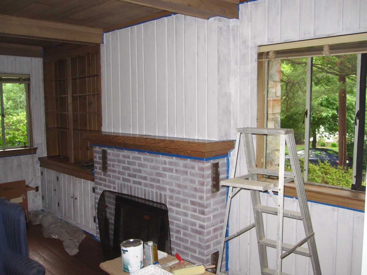 Cover Brick Fireplace With Wood Panels Painting Wood Paneling The Lion 39s Den