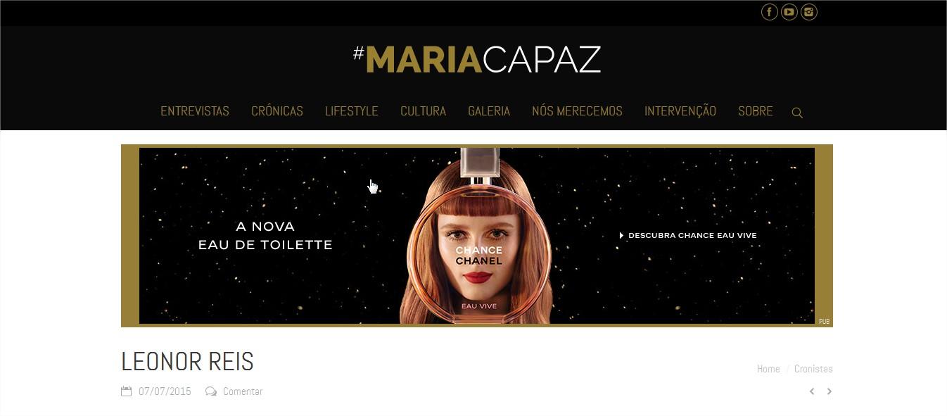 """Leonor Reis como nova cronista no Blogue """"Maria Capaz"""""""