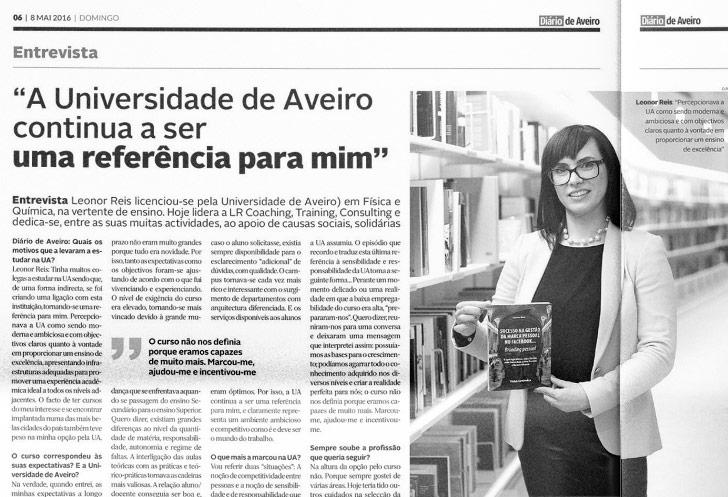 Entrevista de Leonor Reis para o Diário de Aveiro