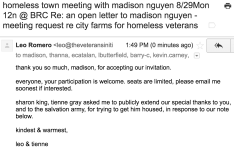 homeless town meeting with madison nguyen 8:29Mon 12n @ BRC Re an open letter to madison nguyen - meeting request re city farms for homeless veterans