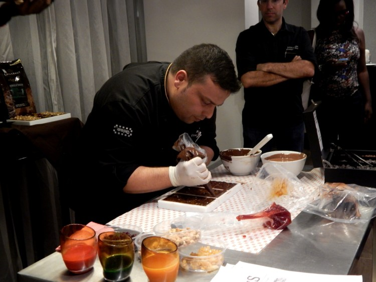 Chef Anis making some chocolate tablets