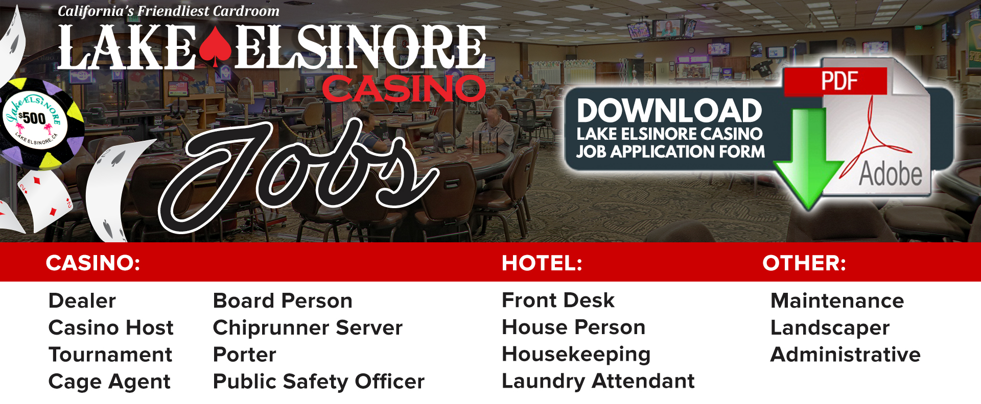 Housekeeping Openings Careers Lake Elsinore Casino Poker Room