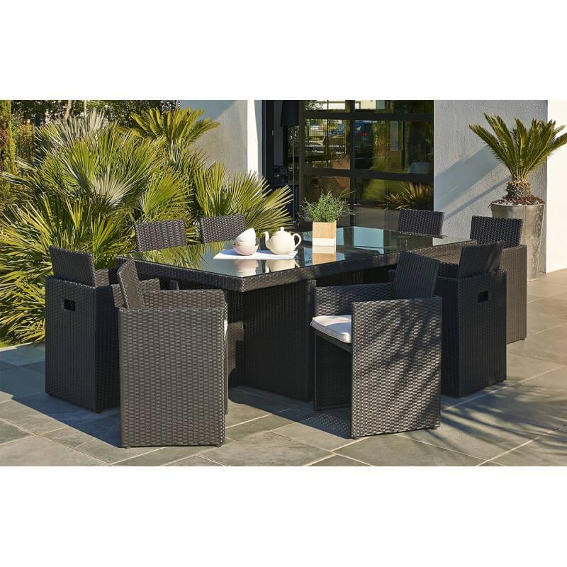 Salon De Jardin Table Resine Tressee Avec 6 Fauteuils Encastrables