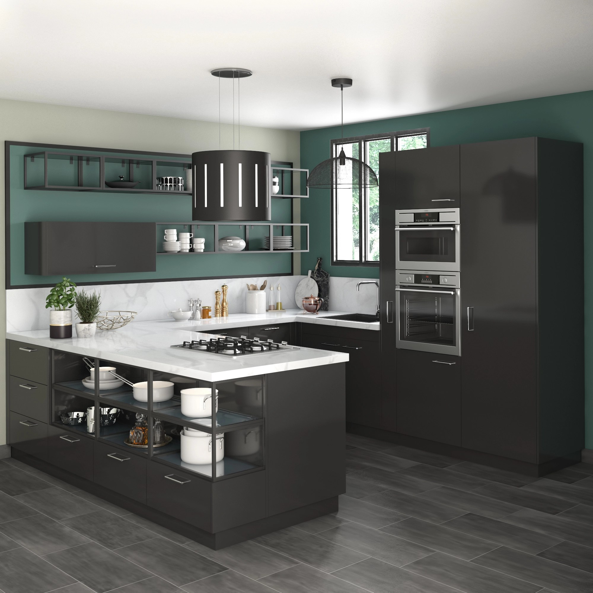 Delinia Sevilla Black Designer Kitchen By Leroy Merlin - Magic Corner Leroy Merlin