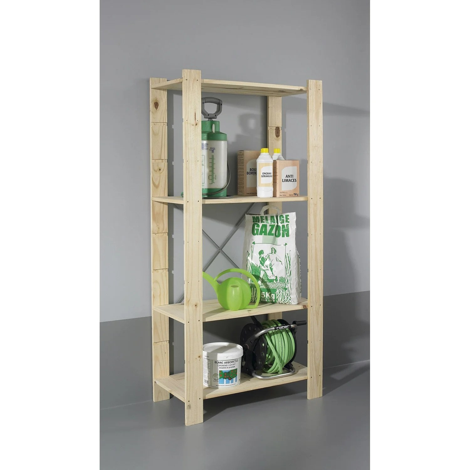 Etagere Pin Leroy Merlin Etagère En Pin 4 Tablettes Modèle Spacea L82xh170xp40cm