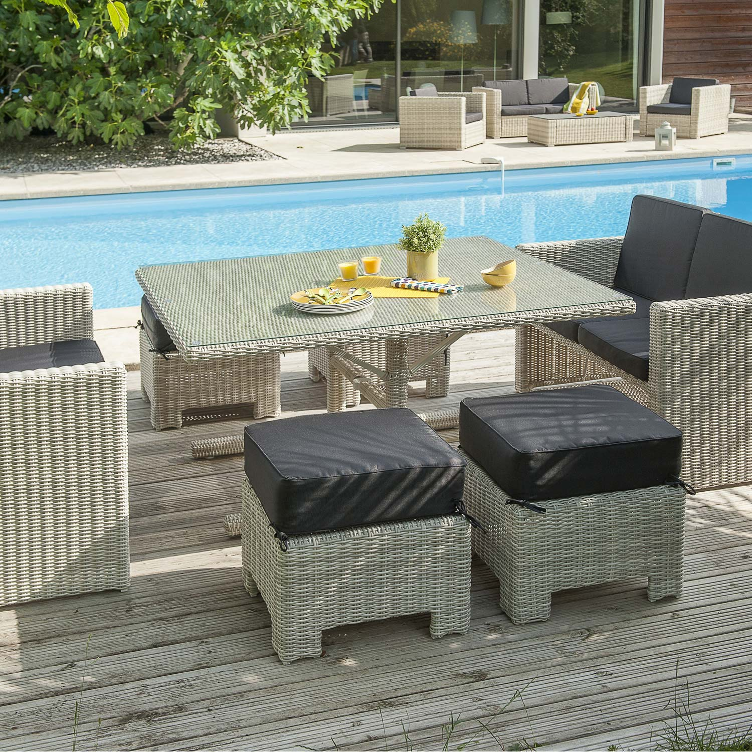 Pouf Exterieur Hesperide Salon Jardin Oceane Lunch Blanc 1 Table 2 Banquettes 4