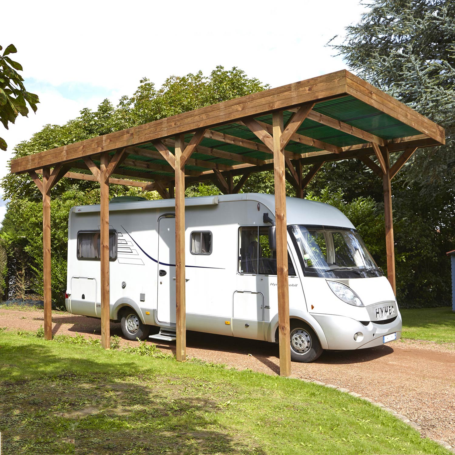 Abri Voiture Occasion Carport Bois Camping Car 1 Voiture 28 6 M² Leroy Merlin