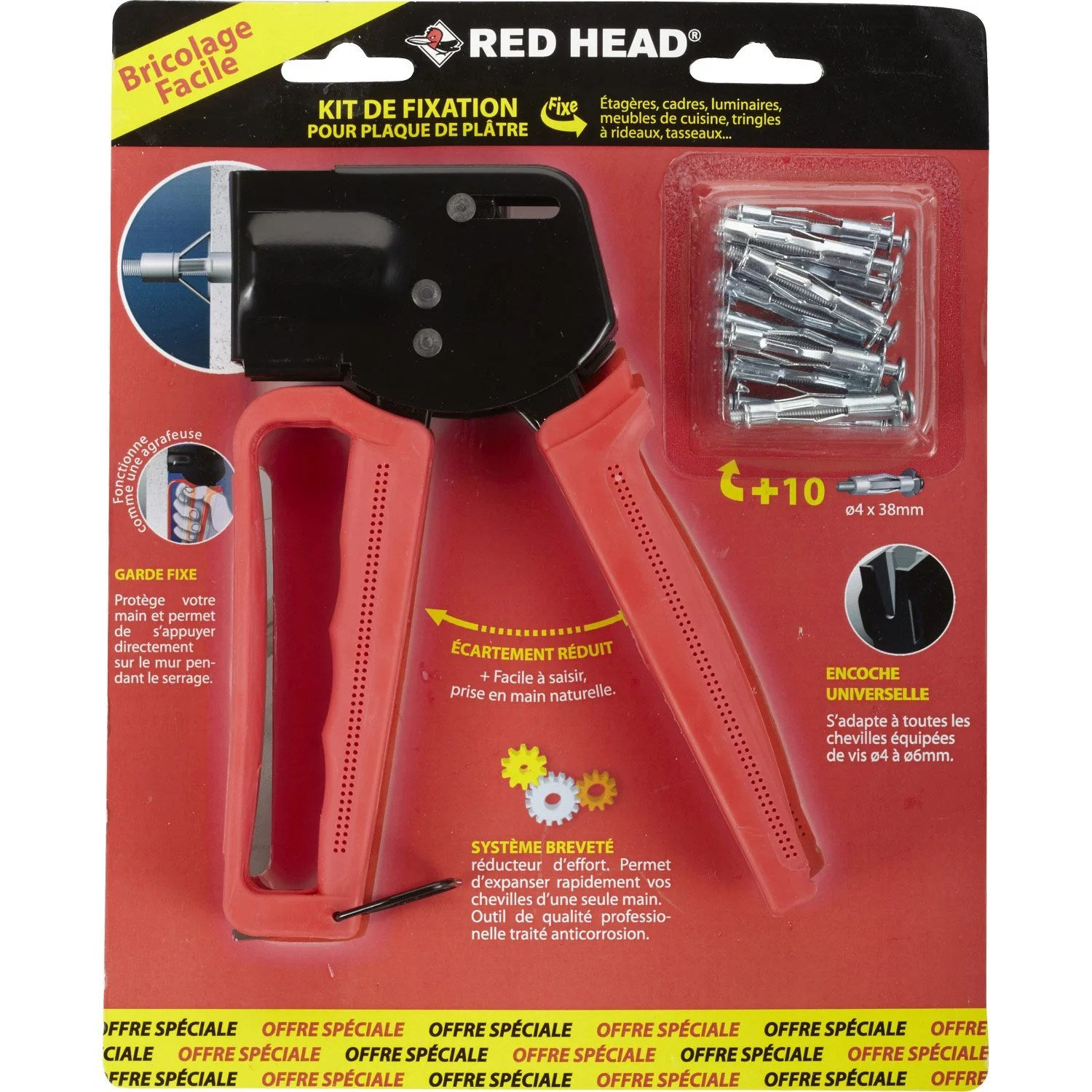 Tole Plastique Leroy Merlin Kit Pince + Chevilles Métal à Expansion Rhf Red Head, Diam