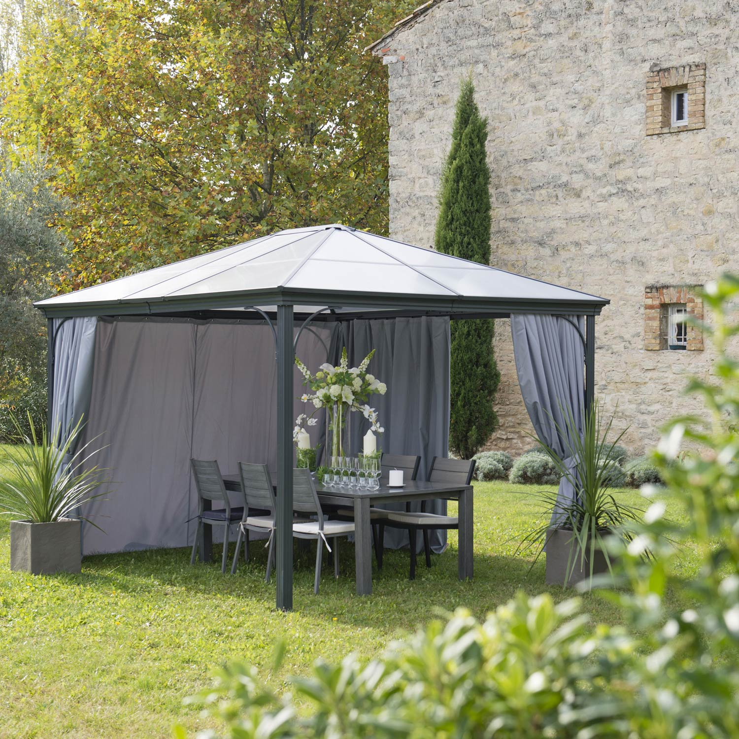 Table Jardin Octogonale Tonnelle Autoportante, Aluminium Gris Anthracite, 10.95 M²