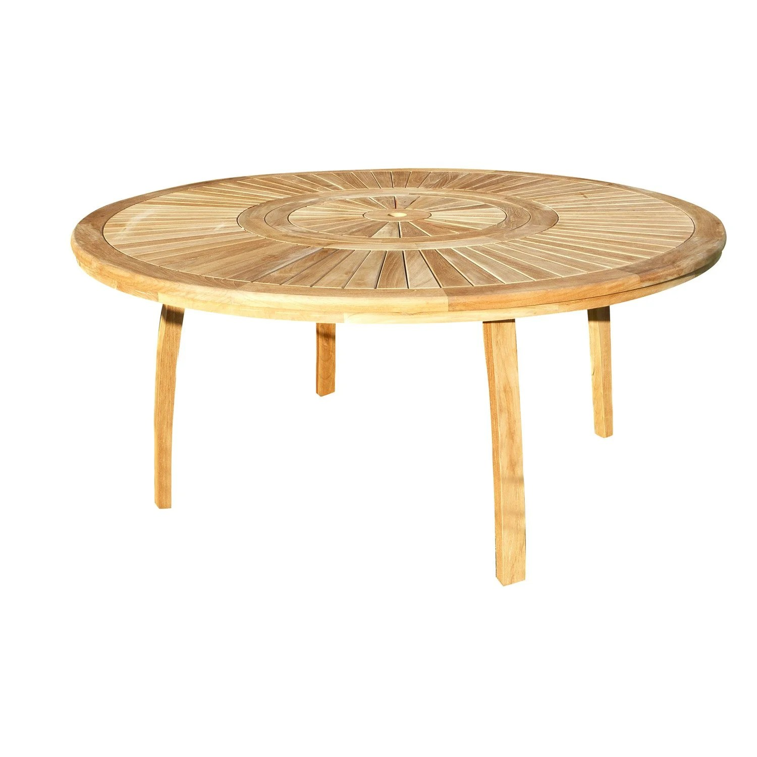 Table Jardin Ronde Teck Table De Jardin Orion Ronde Naturel 8 Personnes Leroy Merlin