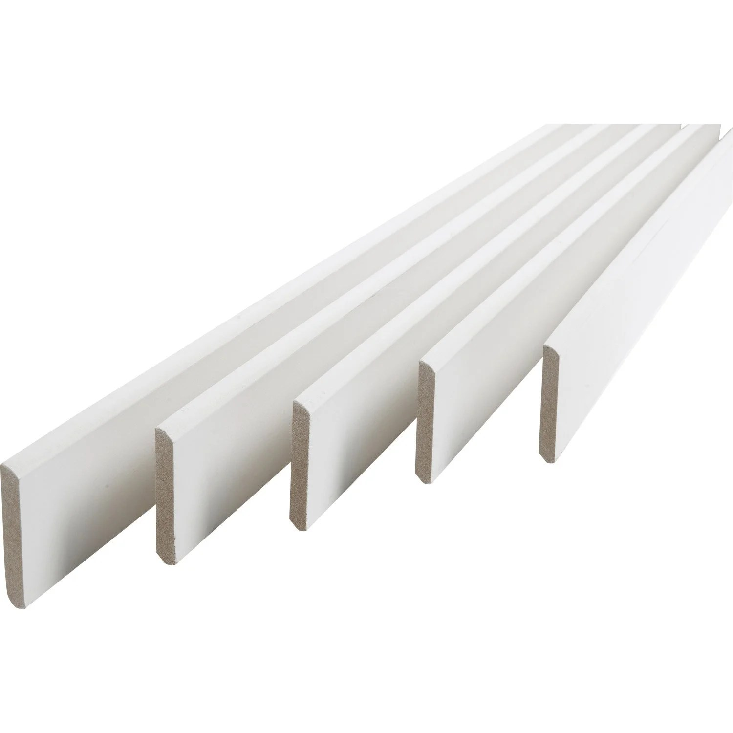 Profilé Plat Aluminium Leroy Merlin Lot De 5 Plinthes Médium Mdf Arrondies Peint Blanc 9 X