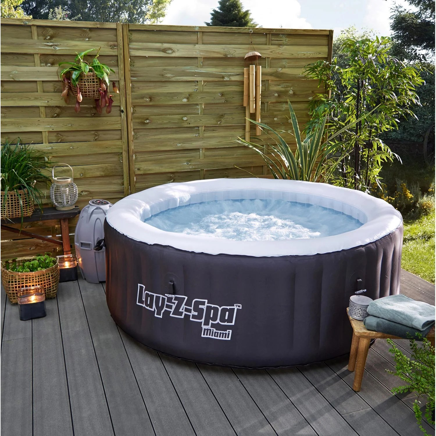 Spas Exterieur Jacuzzi Spa Gonflable Bestway Miami Rond 4 Places Assises Leroy