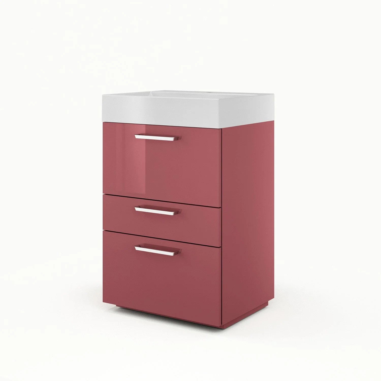 Meuble Vasque 60 Meuble Vasque 60 Cm Rouge Neo Line Leroy Merlin