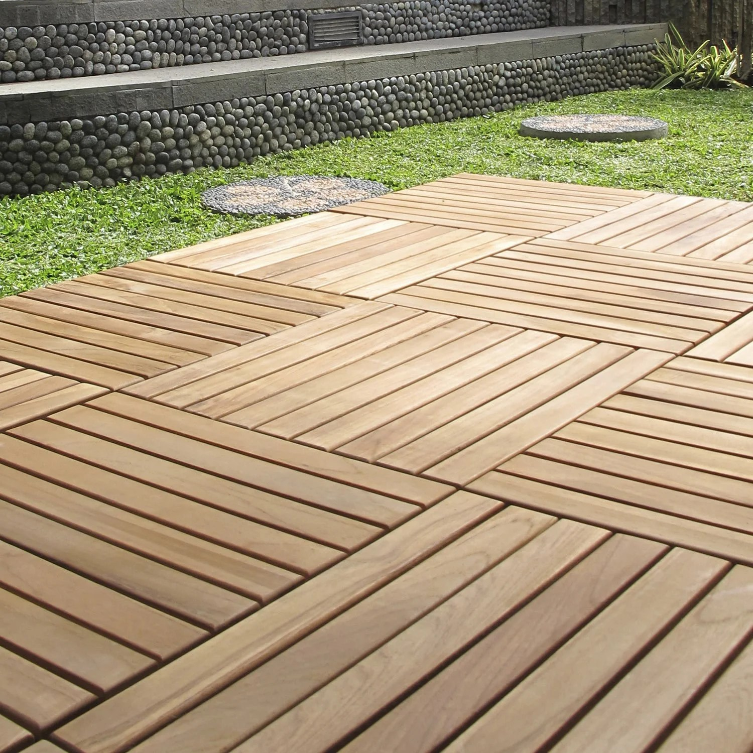 Terrasse Bois Clipsable Dalle Clipsable Bois Marron Naturel Miel L 40 X L 40