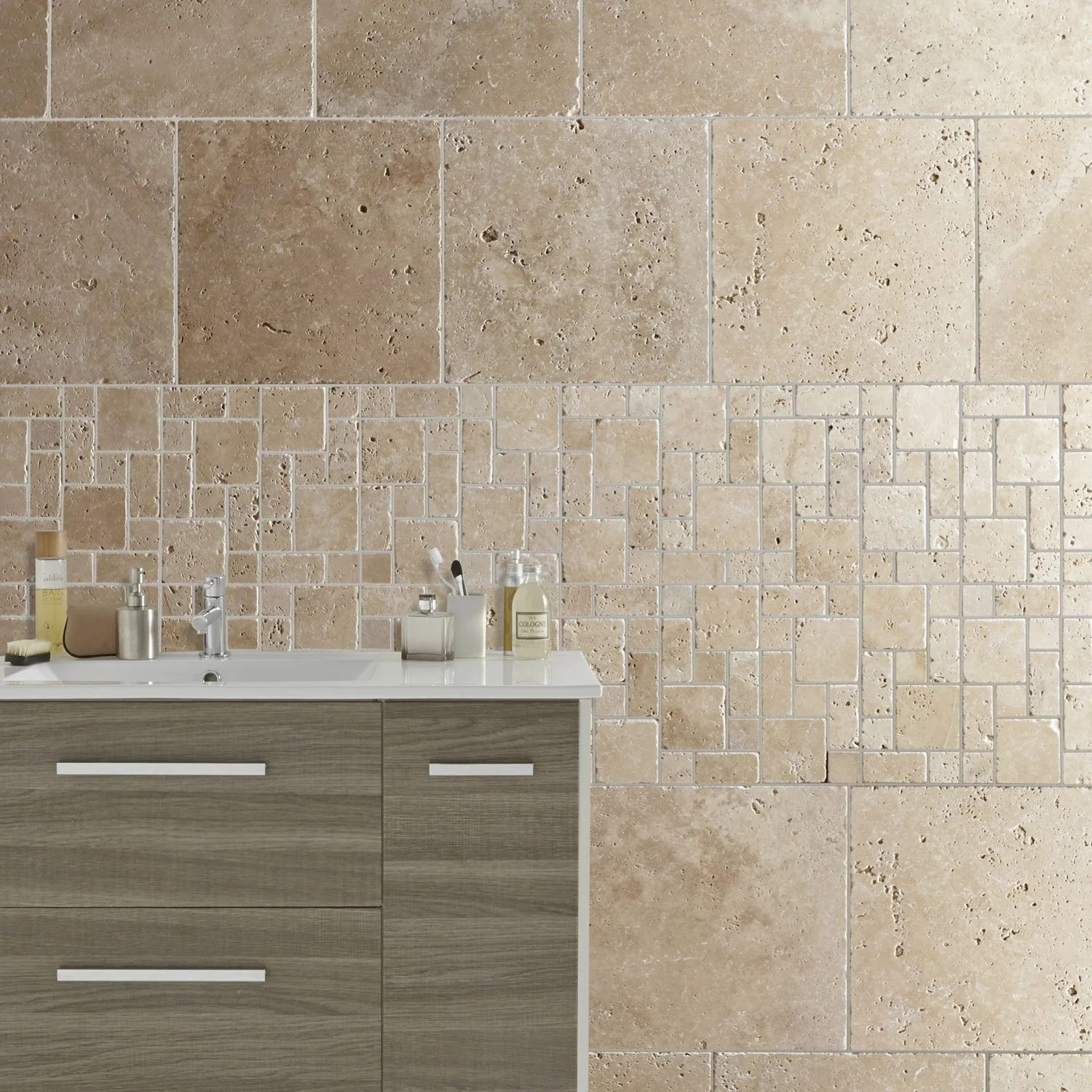 Travertin Salle De Bain Leroy Merlin Travertin Sol Et Mur Beige Effet Pierre Travertin L 40 6 X