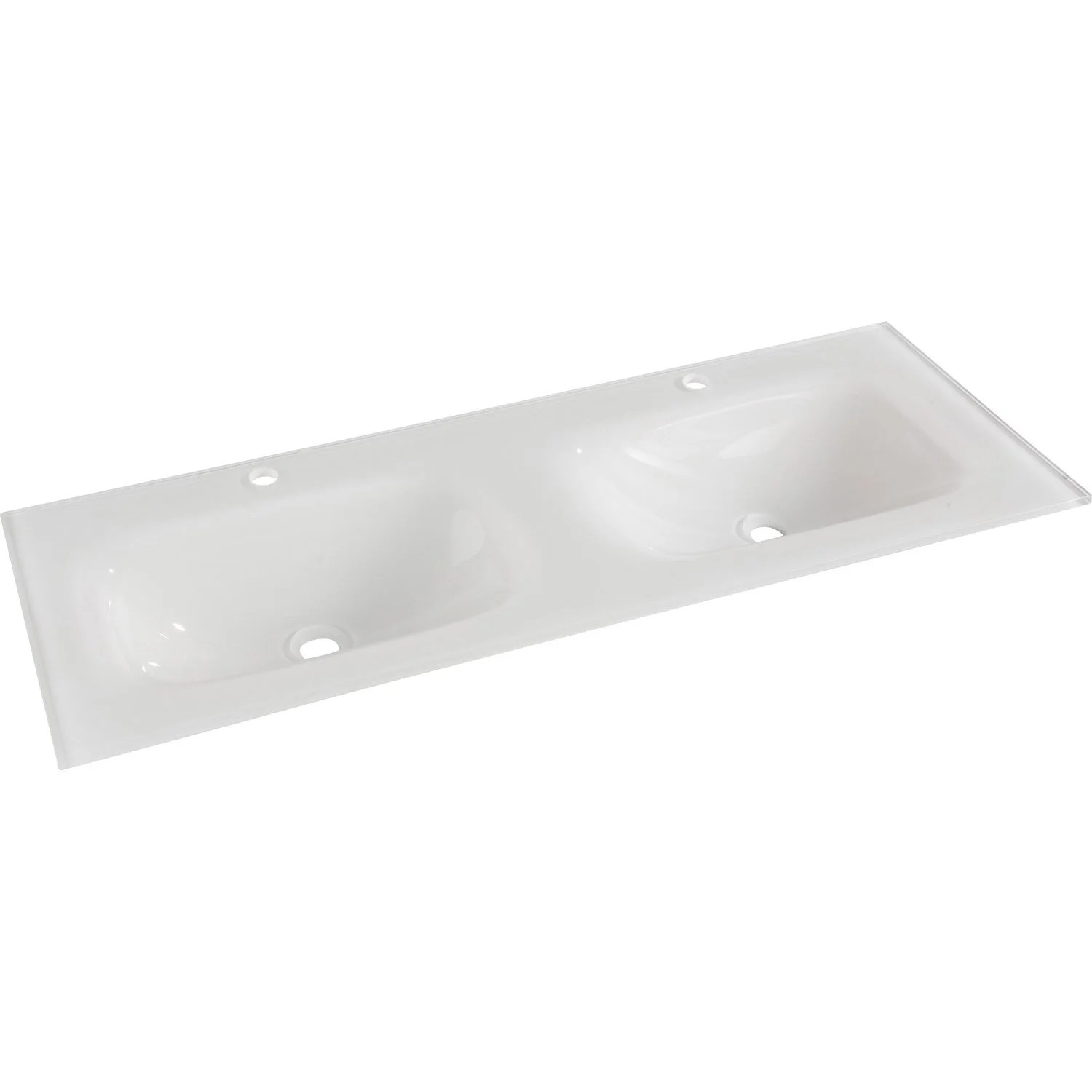 Evacuation Lavabo Double Vasque Plan Vasque Double Opale Verre Trempé 121 Cm Leroy Merlin