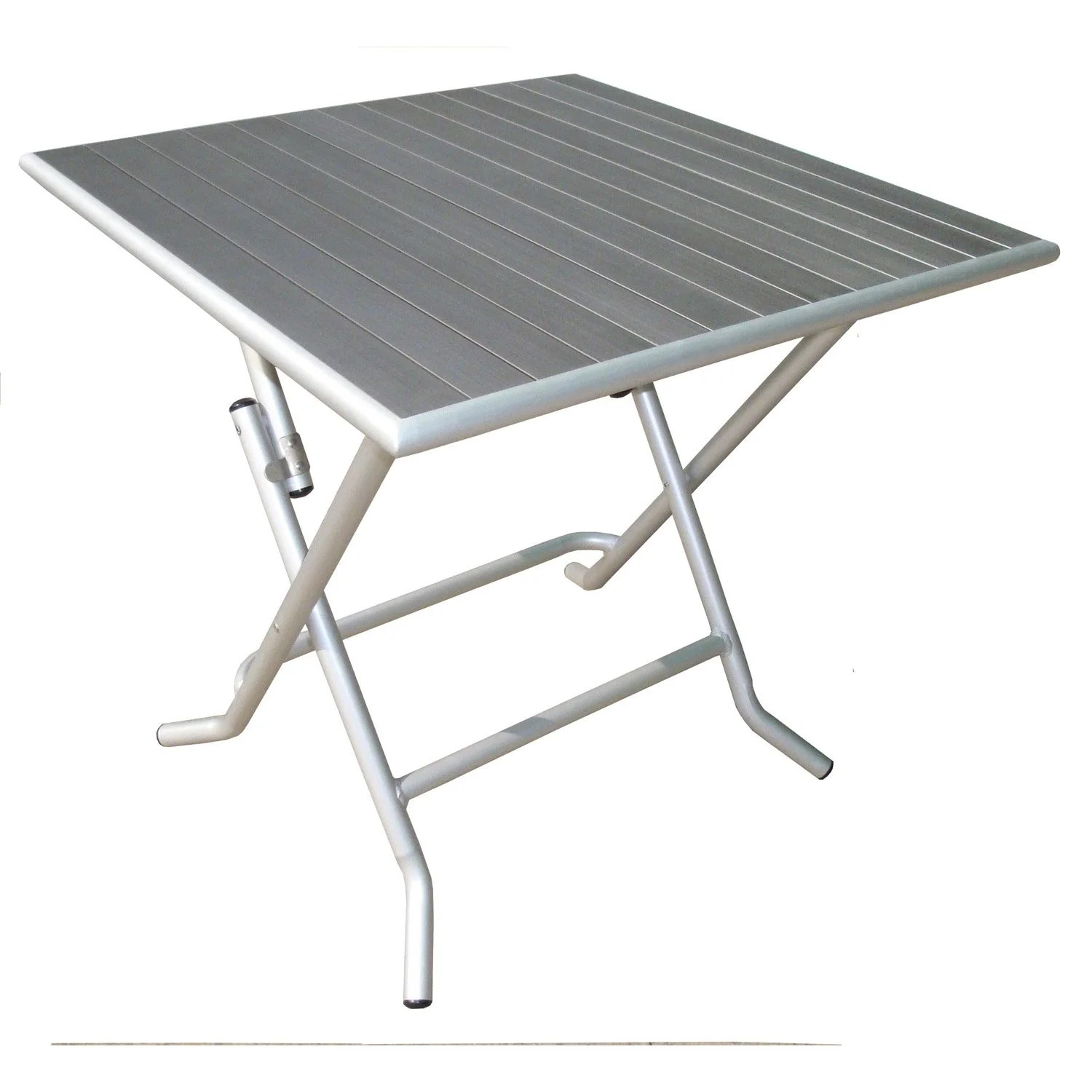 Table Fer Jardin Table De Jardin Naterial Boston Carrée Gris 4 Personnes