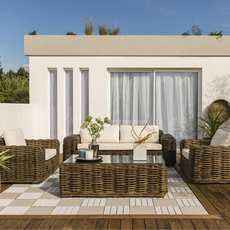 Salon De Jardin Boheme | Canapé Avec Coussins Colorés Au Style Bohème