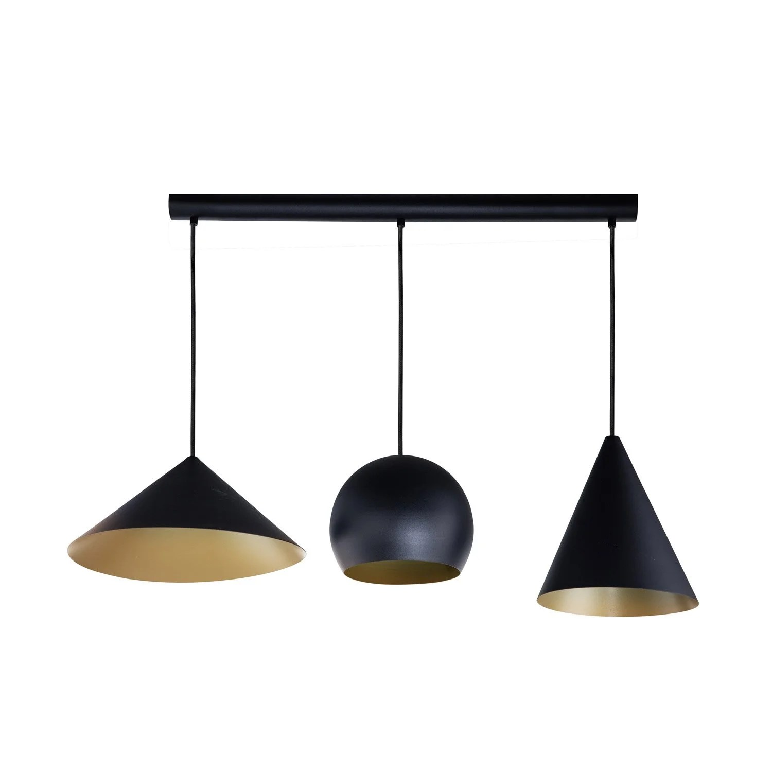 Suspension Metal Design Suspension Design Rubio Métal Noir Or 3 X 60 W Eglo