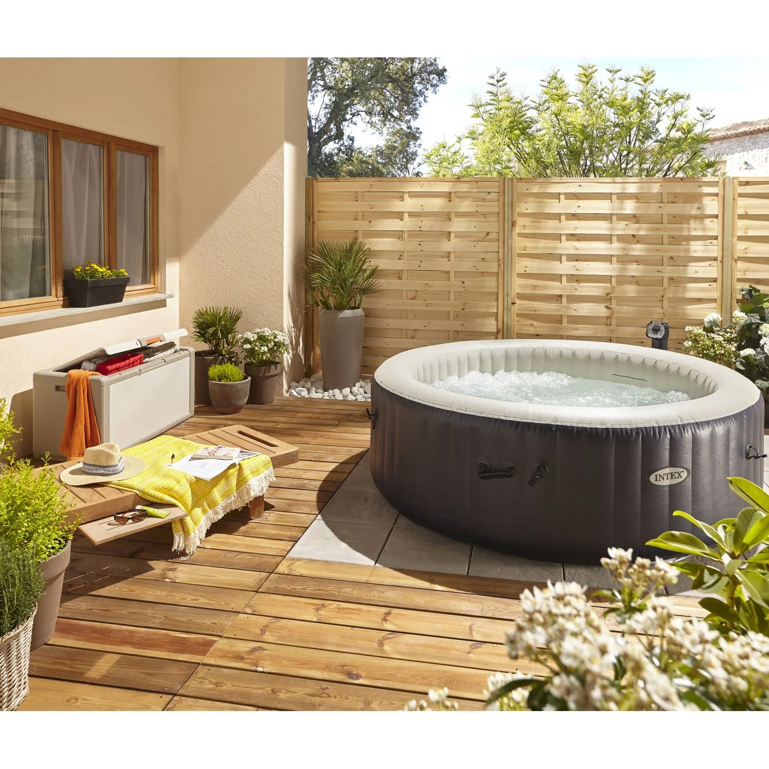 Jacuzzi Gonflable Sur Terrasse Spa Gonflable Intex Purespa Bulles Blue Navy Rond 6