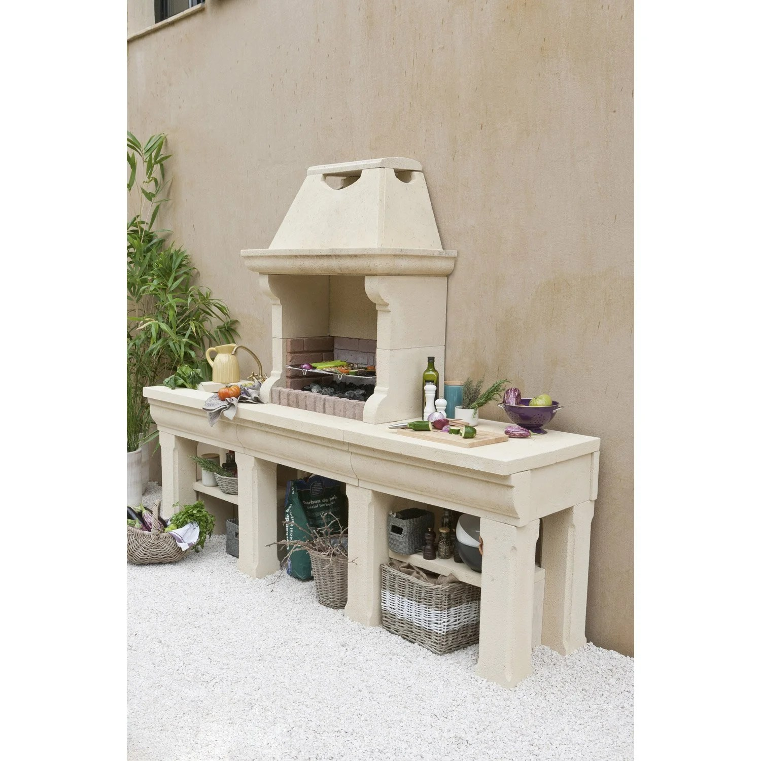 Barbecue En Dur Barbecue En Béton Beige Touraine L 64 X L 247 5 X H 207