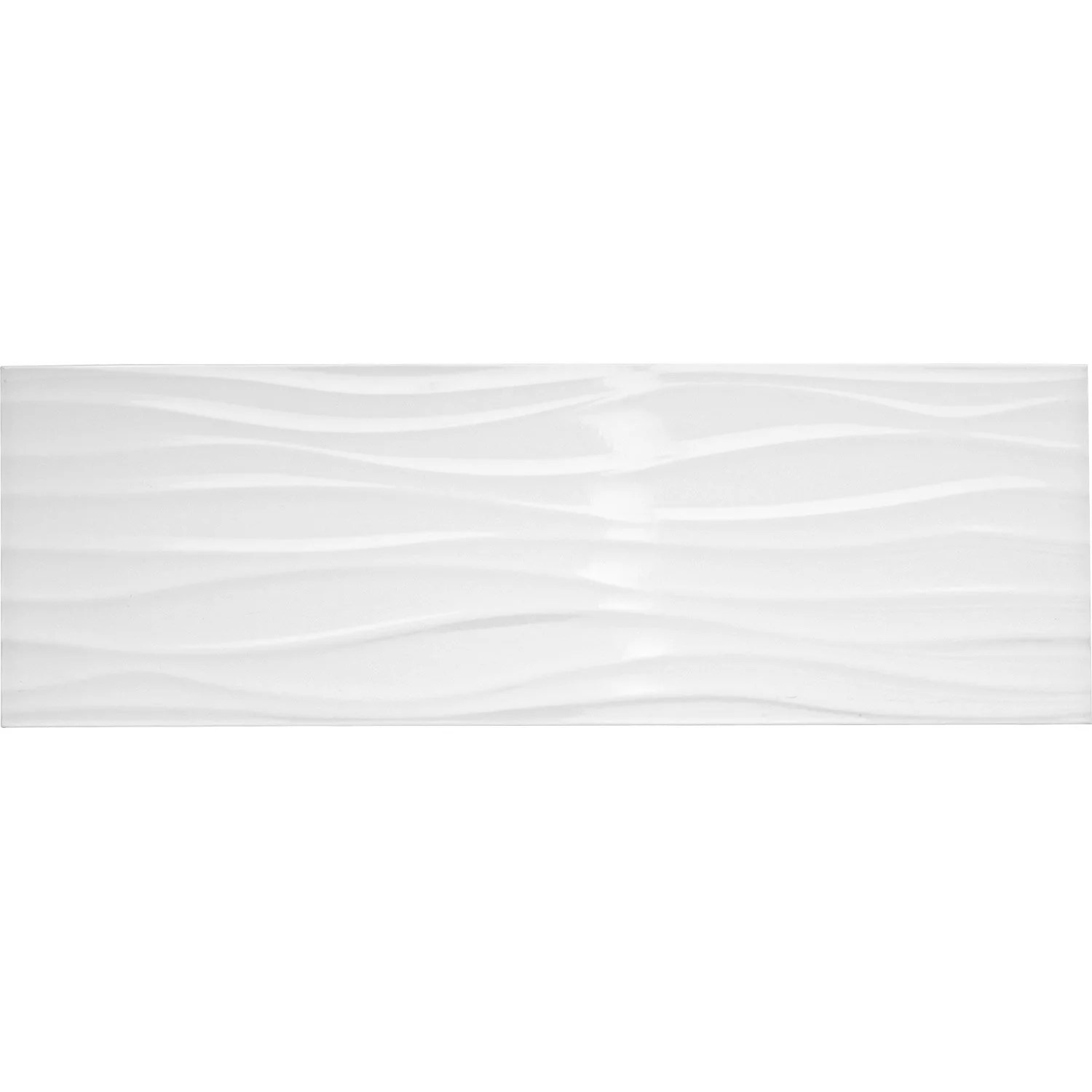 Décoration Murale En Relief Faïence Mur Blanc Brillant Décor Relief Wave L 25 X L 75
